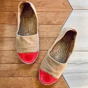 Tory Burch Tan And Red Color-Block Flat Espadrille